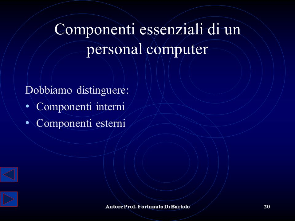 Componenti essenziali di un personal computer