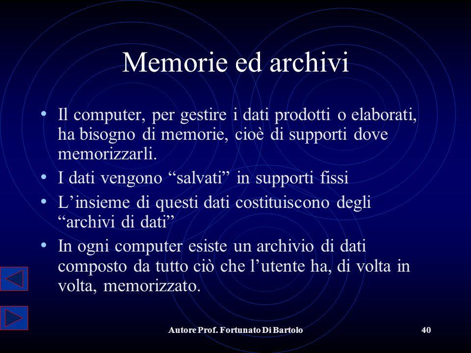 Autore Prof. Fortunato Di Bartolo