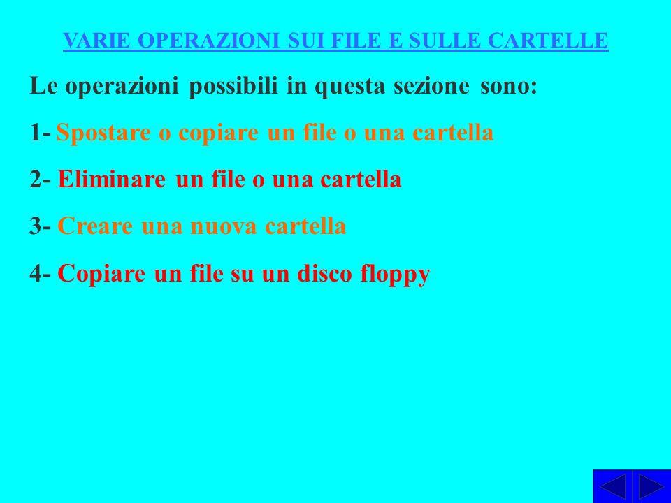 VARIE OPERAZIONI SUI FILE E SULLE CARTELLE