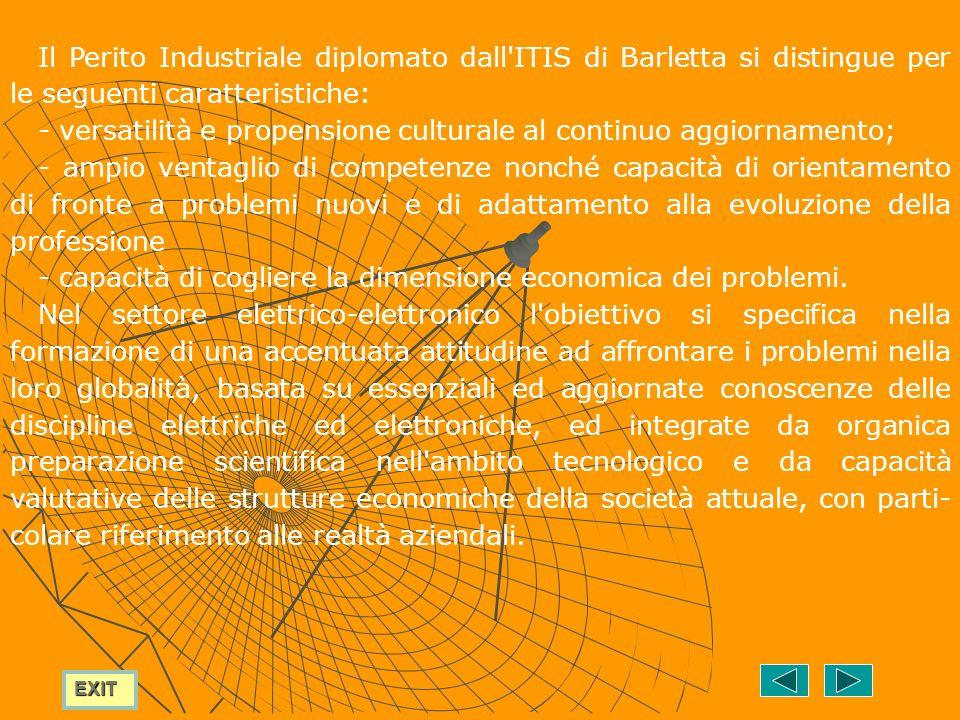 Il Perito Industriale diplomato dall ITIS di Barletta si distingue per le seguenti caratteristiche:
