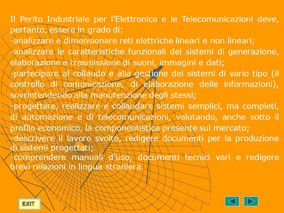 Il Perito Industriale per l'Elettronica e le Telecomunicazioni deve, pertanto, essere in grado di: