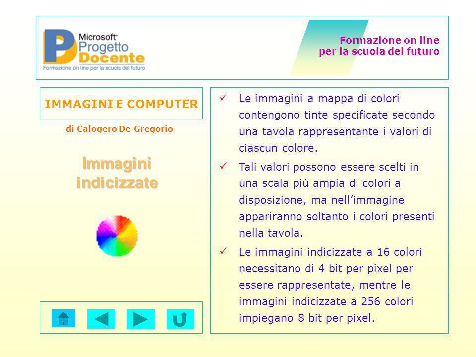 Le immagini a mappa di colori contengono tinte specificate secondo una tavola rappresentante i valori di ciascun colore.