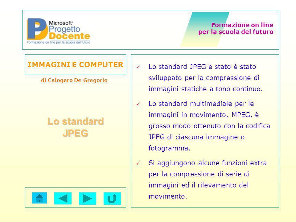 Lo standard JPEG è stato è stato sviluppato per la compressione di immagini statiche a tono continuo.