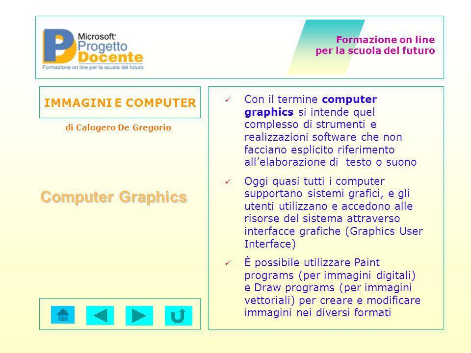Con il termine computer graphics si intende quel complesso di strumenti e realizzazioni software che non facciano esplicito riferimento all'elaborazione di testo o suono