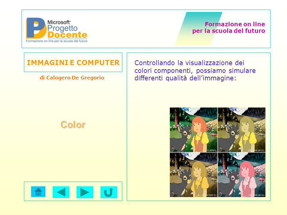 Controllando la visualizzazione dei colori componenti, possiamo simulare differenti qualità dell'immagine: