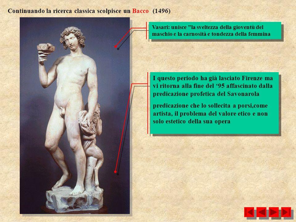Continuando la ricerca classica scolpisce un Bacco (1496)