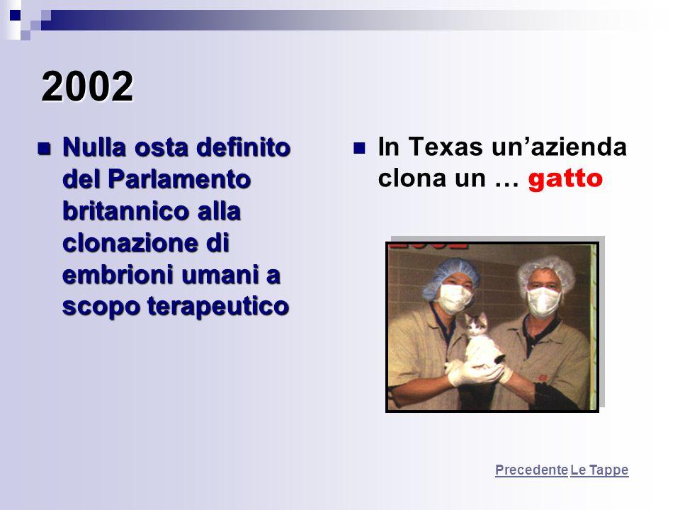 2002 Nulla osta definito del Parlamento britannico alla clonazione di embrioni umani a scopo terapeutico.