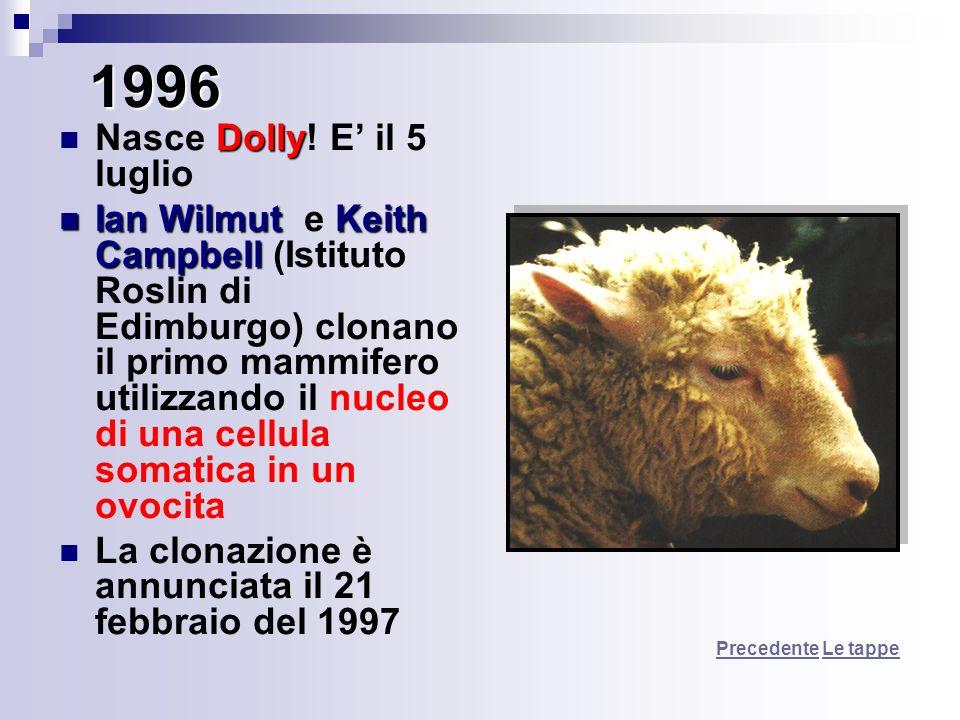 1996 Nasce Dolly! E' il 5 luglio