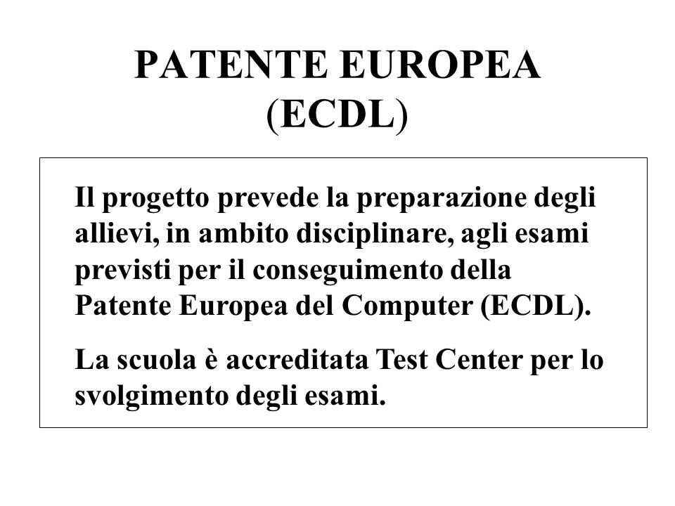 PATENTE EUROPEA (ECDL)