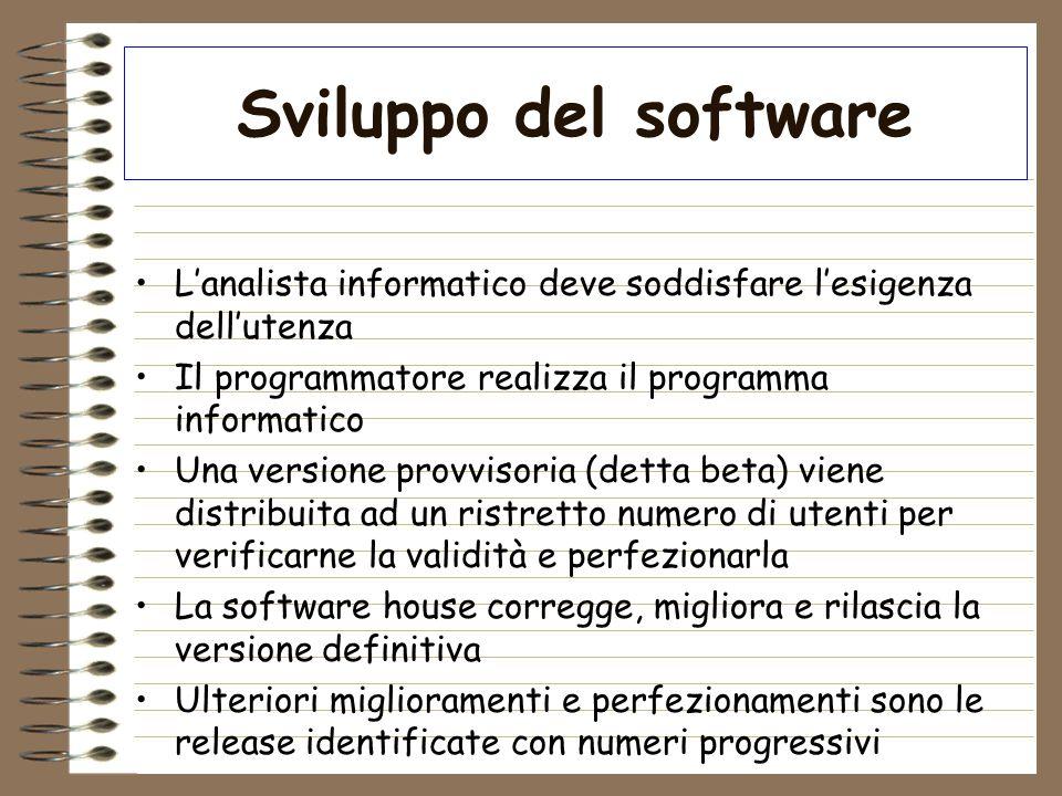 Sviluppo del software L'analista informatico deve soddisfare l'esigenza dell'utenza. Il programmatore realizza il programma informatico.