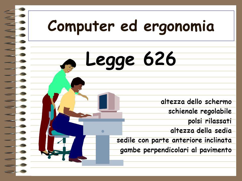 Legge 626 Computer ed ergonomia altezza dello schermo