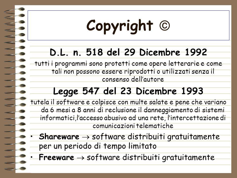 Copyright  D.L. n. 518 del 29 Dicembre 1992