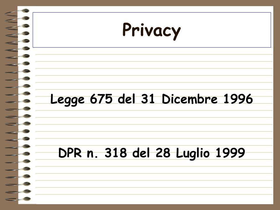 Privacy Legge 675 del 31 Dicembre 1996 DPR n. 318 del 28 Luglio 1999