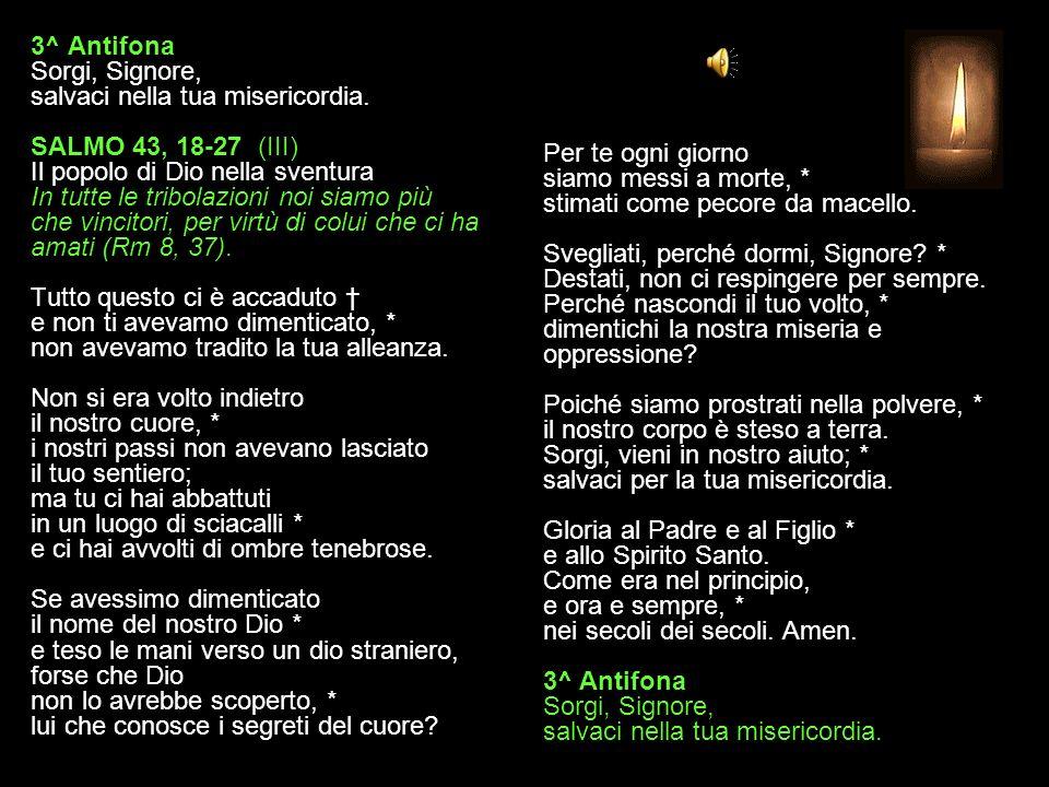 3^ Antifona Sorgi, Signore, salvaci nella tua misericordia