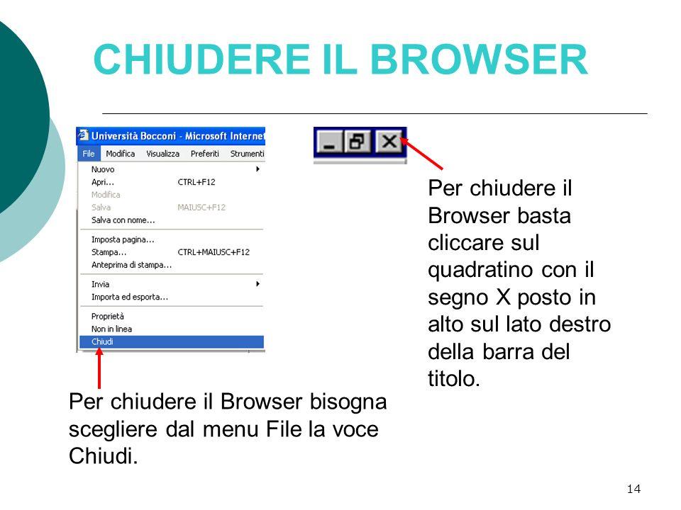 CHIUDERE IL BROWSER Per chiudere il Browser basta cliccare sul quadratino con il segno X posto in alto sul lato destro della barra del titolo.
