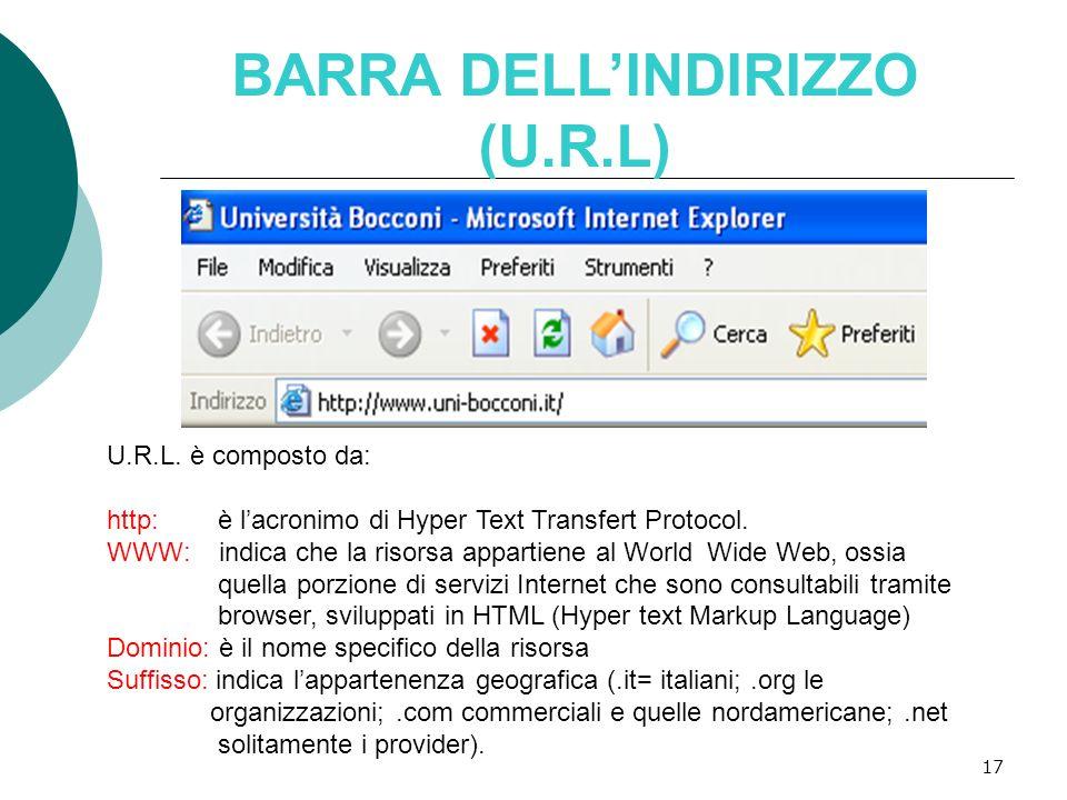 BARRA DELL'INDIRIZZO (U.R.L)