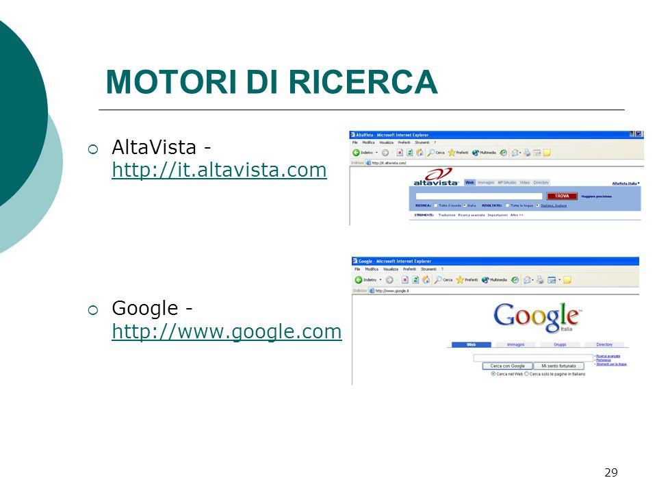 MOTORI DI RICERCA AltaVista - http://it.altavista.com