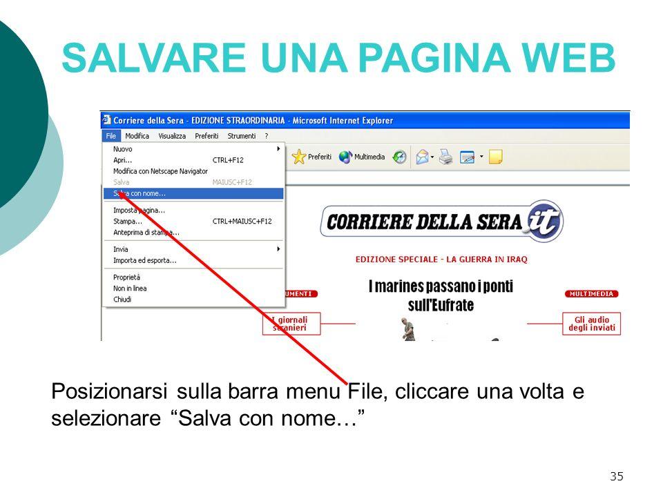 SALVARE UNA PAGINA WEB Posizionarsi sulla barra menu File, cliccare una volta e selezionare Salva con nome…