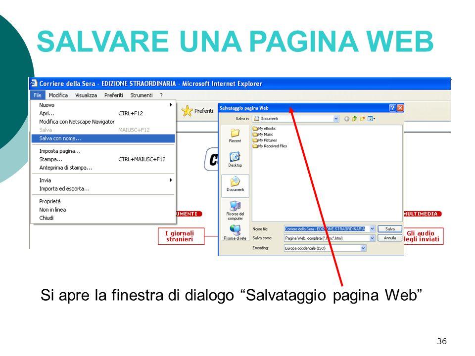 SALVARE UNA PAGINA WEB Si apre la finestra di dialogo Salvataggio pagina Web