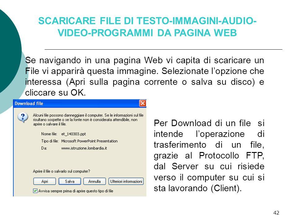 SCARICARE FILE DI TESTO-IMMAGINI-AUDIO- VIDEO-PROGRAMMI DA PAGINA WEB