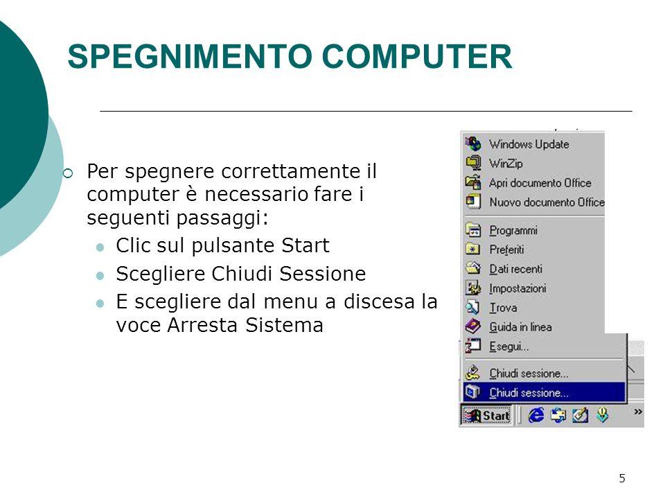 SPEGNIMENTO COMPUTER Per spegnere correttamente il computer è necessario fare i seguenti passaggi: Clic sul pulsante Start.