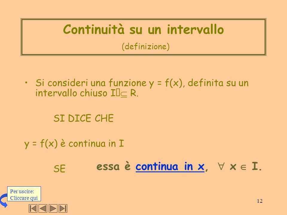 Continuità su un intervallo (definizione)