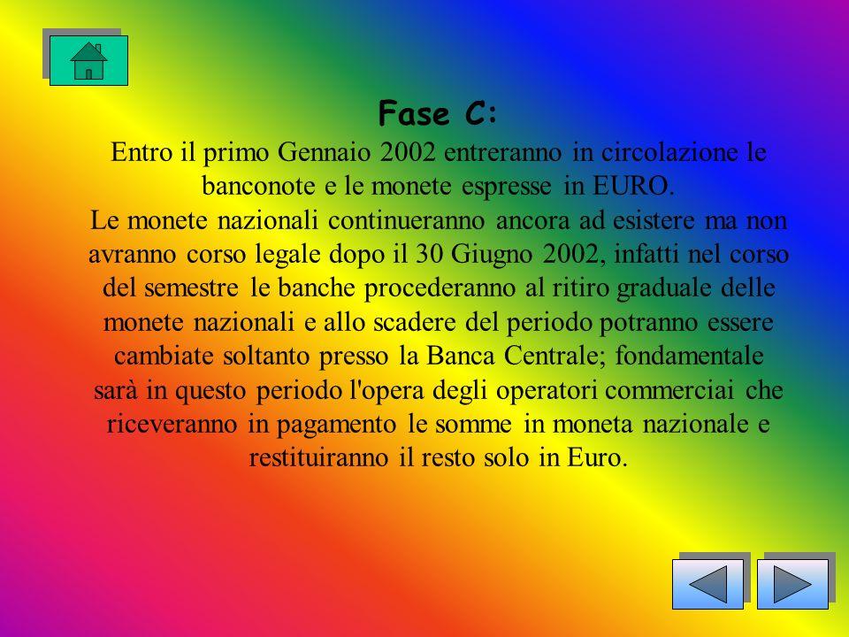 Fase C: Entro il primo Gennaio 2002 entreranno in circolazione le banconote e le monete espresse in EURO.