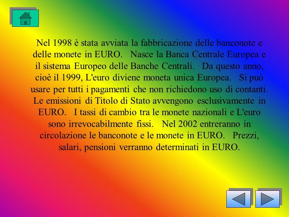 Nel 1998 è stata avviata la fabbricazione delle banconote e delle monete in EURO.