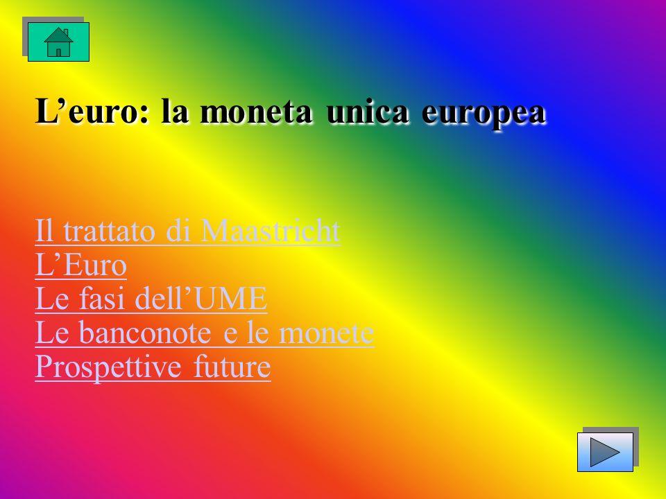 L'euro: la moneta unica europea Il trattato di Maastricht L'Euro Le fasi dell'UME Le banconote e le monete Prospettive future