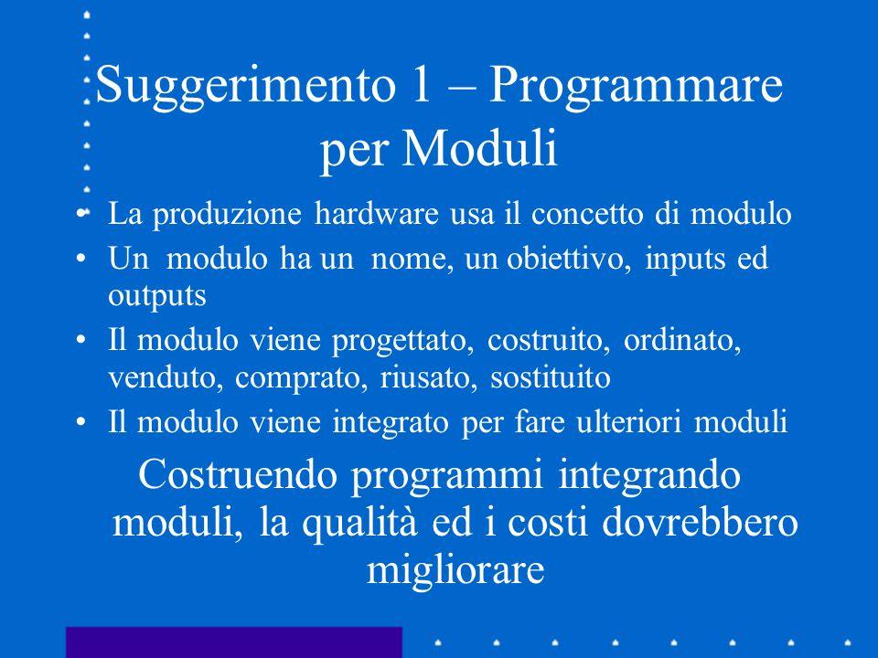 Suggerimento 1 – Programmare per Moduli