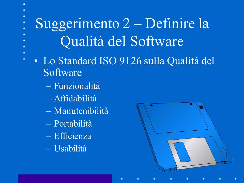 Suggerimento 2 – Definire la Qualità del Software