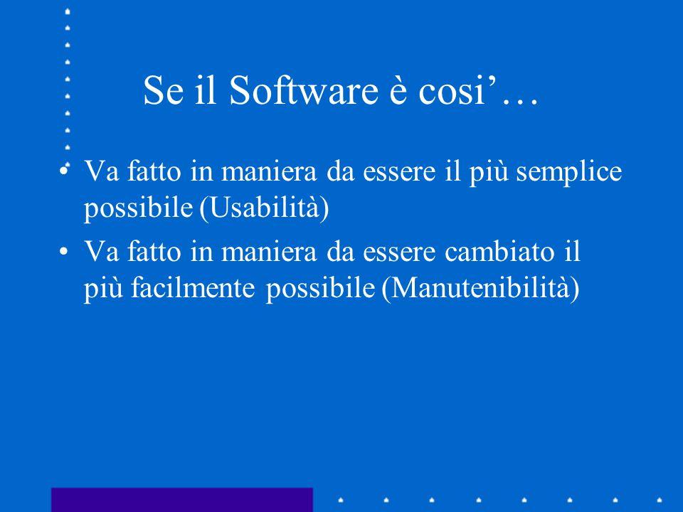 Se il Software è cosi'… Va fatto in maniera da essere il più semplice possibile (Usabilità)