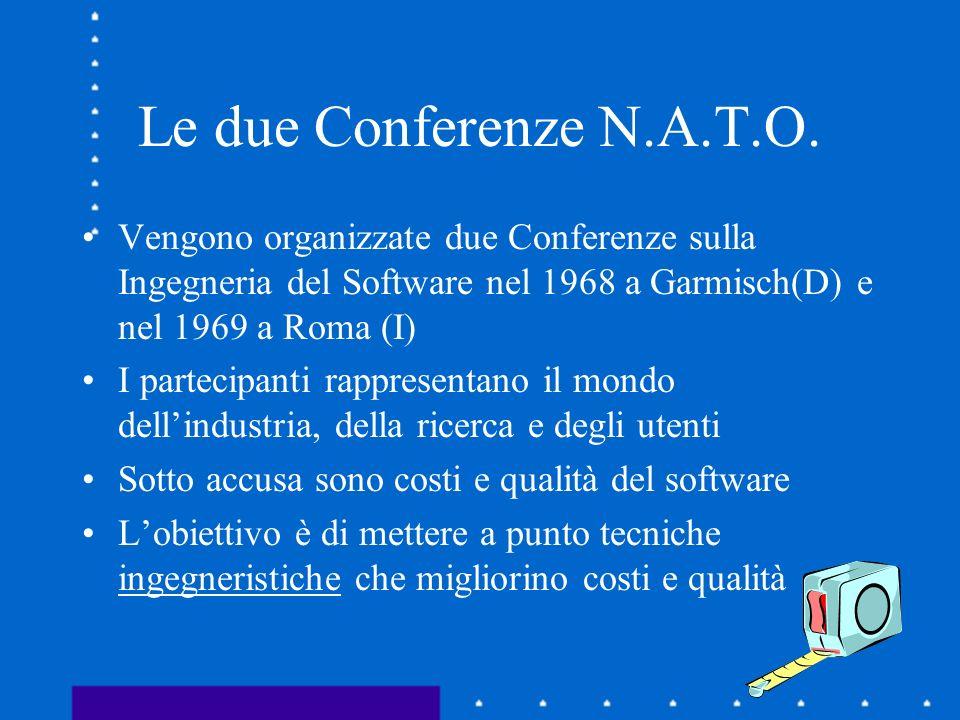 Le due Conferenze N.A.T.O.Vengono organizzate due Conferenze sulla Ingegneria del Software nel 1968 a Garmisch(D) e nel 1969 a Roma (I)