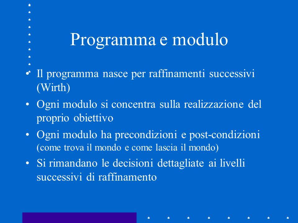 Programma e modulo Il programma nasce per raffinamenti successivi (Wirth) Ogni modulo si concentra sulla realizzazione del proprio obiettivo.