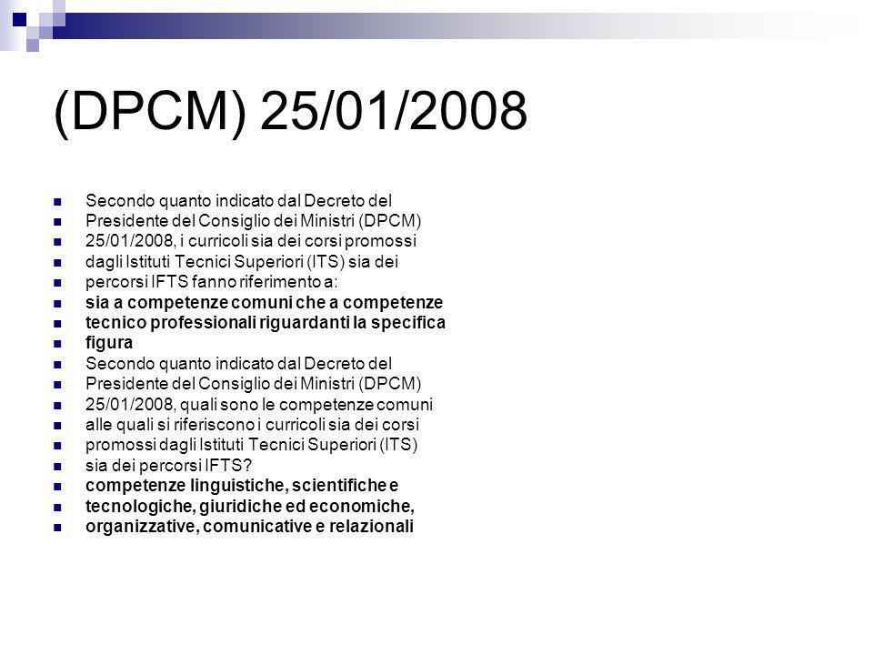 (DPCM) 25/01/2008 Secondo quanto indicato dal Decreto del