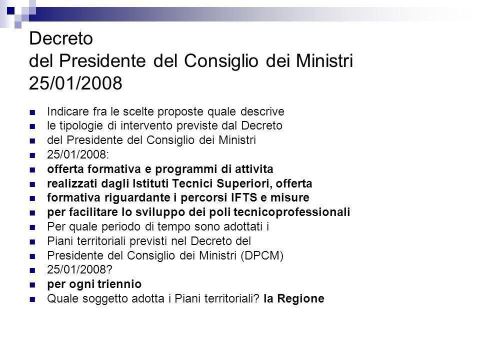Decreto del Presidente del Consiglio dei Ministri 25/01/2008