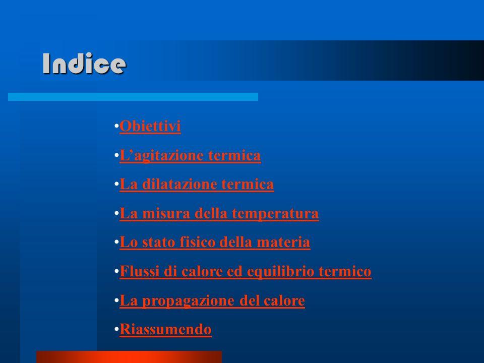 Indice Obiettivi L'agitazione termica La dilatazione termica