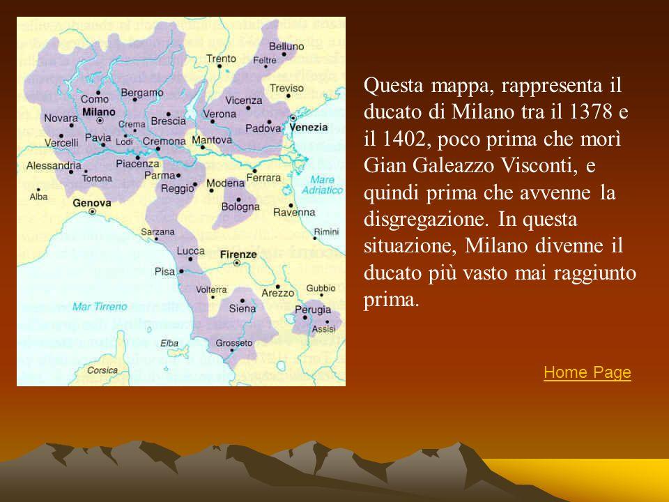 Questa mappa, rappresenta il ducato di Milano tra il 1378 e il 1402, poco prima che morì Gian Galeazzo Visconti, e quindi prima che avvenne la disgregazione. In questa situazione, Milano divenne il ducato più vasto mai raggiunto prima.