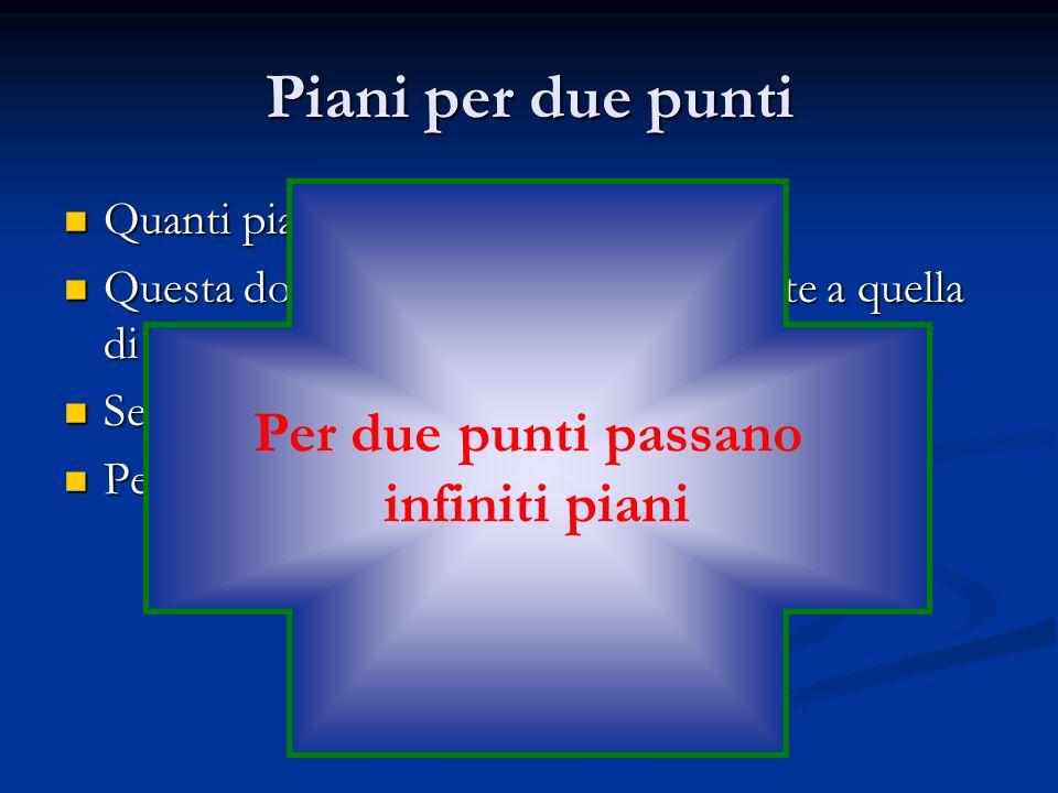 Piani per due punti Per due punti passano infiniti piani