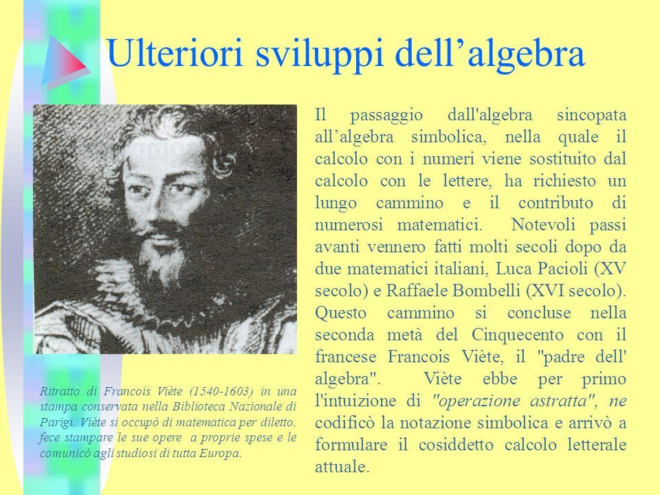 Ulteriori sviluppi dell'algebra