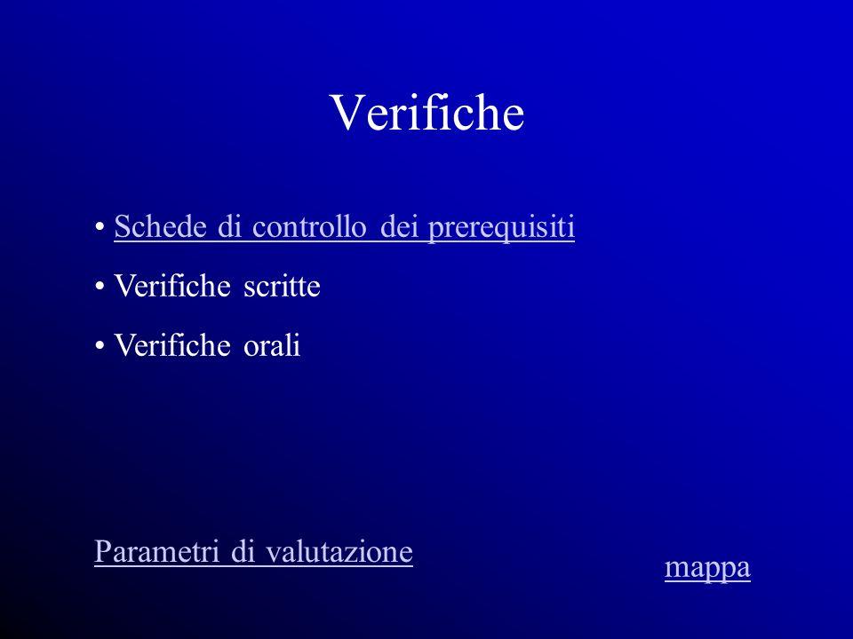 Verifiche Schede di controllo dei prerequisiti Verifiche scritte