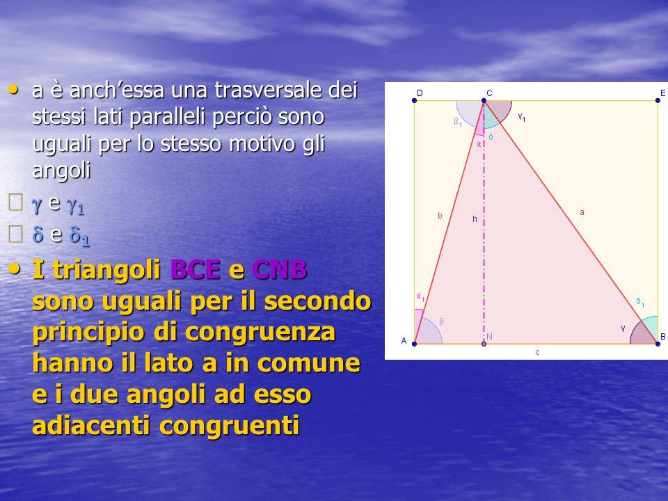 a è anch'essa una trasversale dei stessi lati paralleli perciò sono uguali per lo stesso motivo gli angoli