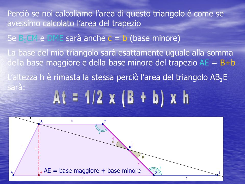 Perciò se noi calcoliamo l'area di questo triangolo è come se avessimo calcolato l'area del trapezio