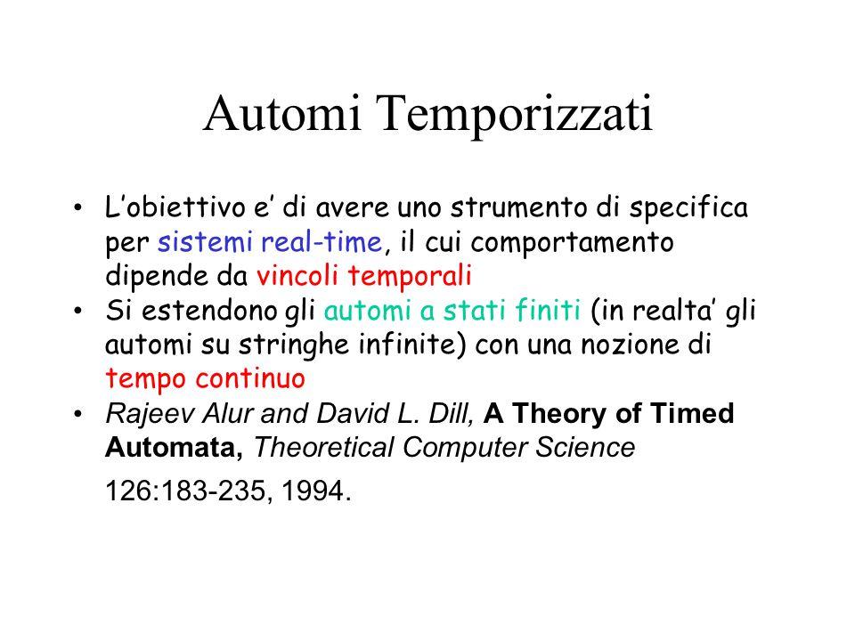 Automi Temporizzati L'obiettivo e' di avere uno strumento di specifica per sistemi real-time, il cui comportamento dipende da vincoli temporali.