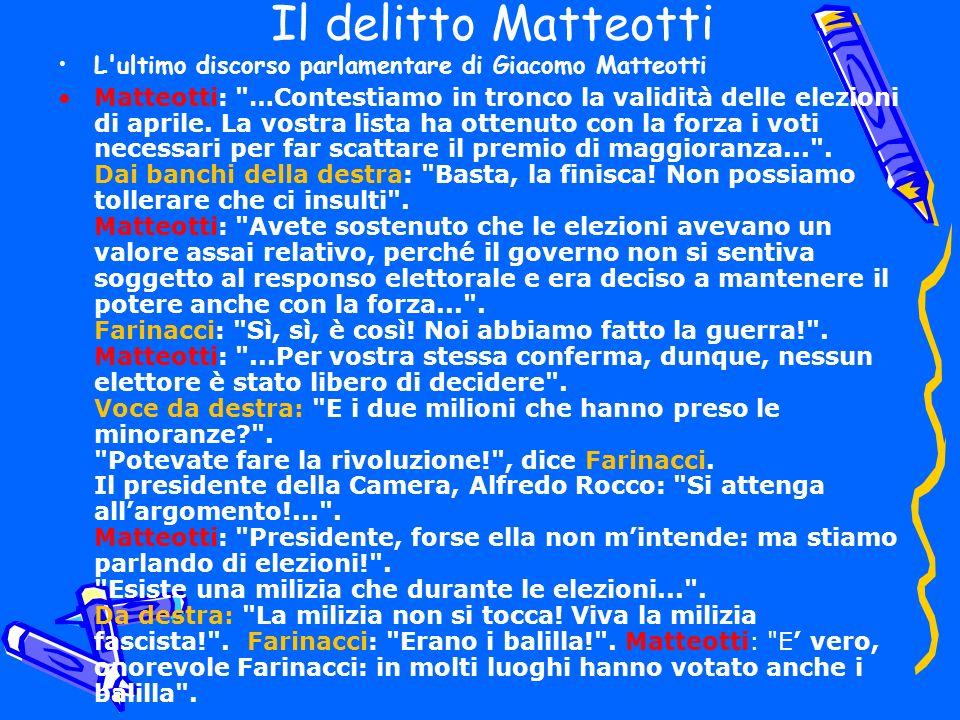 Il delitto Matteotti L ultimo discorso parlamentare di Giacomo Matteotti.