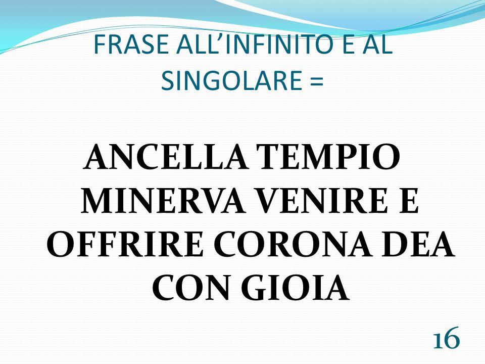 FRASE ALL'INFINITO E AL SINGOLARE =