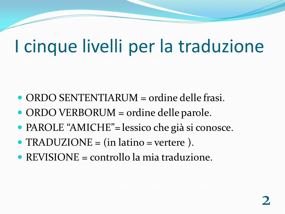 I cinque livelli per la traduzione