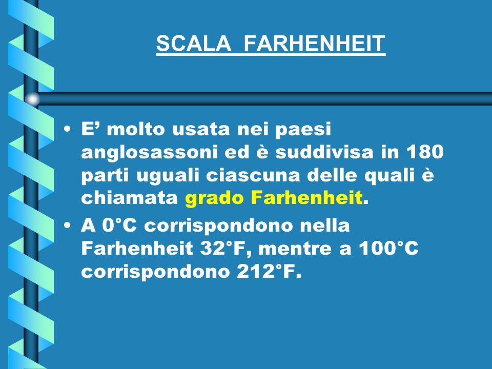 SCALA FARHENHEIT E' molto usata nei paesi anglosassoni ed è suddivisa in 180 parti uguali ciascuna delle quali è chiamata grado Farhenheit.
