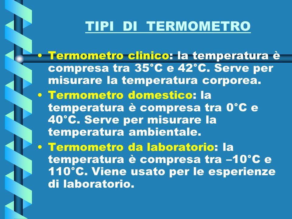 TIPI DI TERMOMETRO Termometro clinico: la temperatura è compresa tra 35°C e 42°C. Serve per misurare la temperatura corporea.