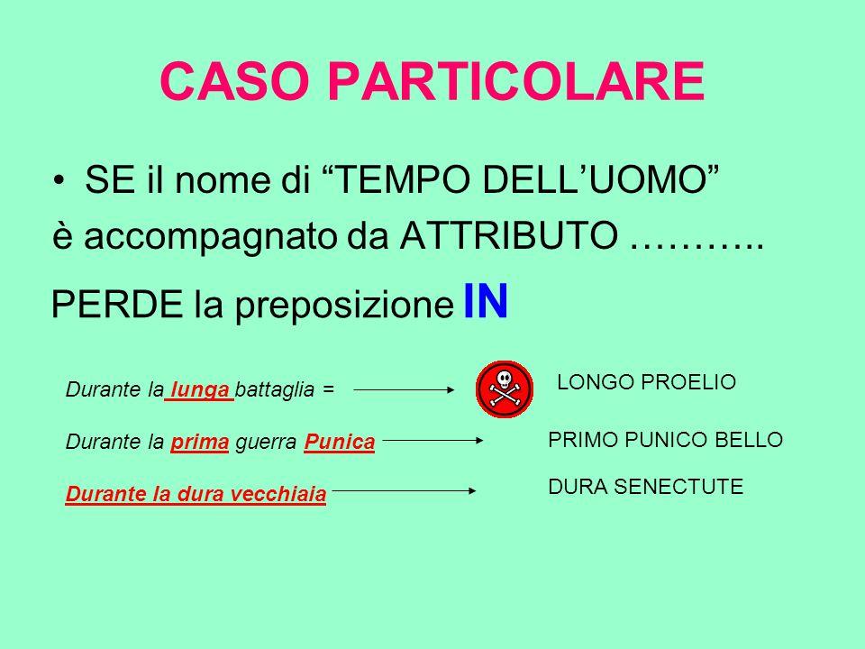 CASO PARTICOLARE SE il nome di TEMPO DELL'UOMO